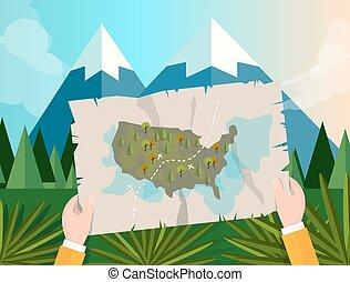 hand holding, landkarte, amerika, verfolgen, jagen, in, wald, berg, baum, vektorgrafik, abbildung, karikatur, dschungel, sonnenuntergang