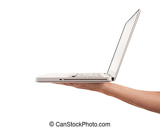 Hand holding laptop