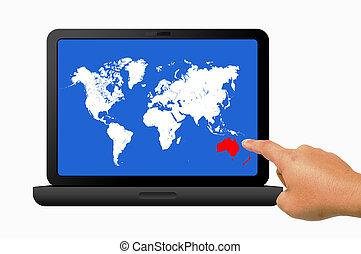 Hand holding laptop