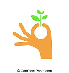 Hand holding leaf. Vector isolated on white background