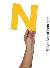 Hand holding letter N from alphabet