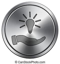 Hand holding lightbulb. Idea icon. Round icon imitating metal.