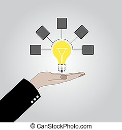 Hand holding lightbulb idea Illustration