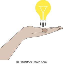 Hand holding lightbulb idea. Vector Illustration