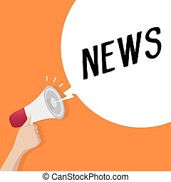 Hand holding loudspeaker or megaphone with speech bubble NEWS. announcement concept.