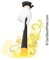 Hand holding magic wand