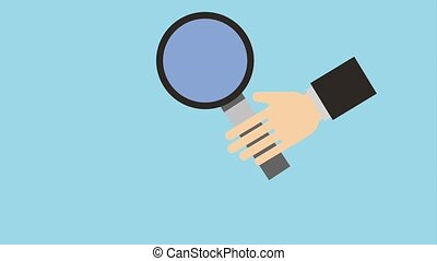 hand holding magnifying glass icons animation design