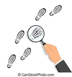 Hand holding magnifying glass over footprints on white background. Vector illustration in flat style