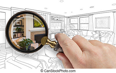 Hand Holding Magnifying Glass Revealing Custom Kitchen...
