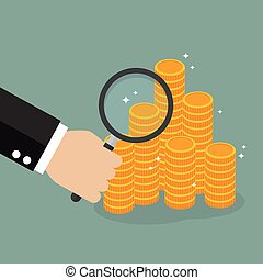 Hand holding magnifying glass with money