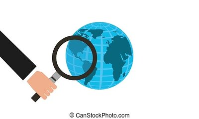 hand holding magnifying glass world business animation hd