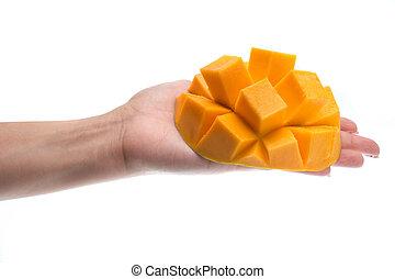 Hand holding mango slice isolated on white background