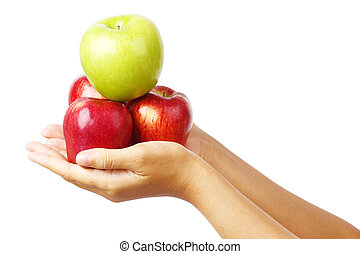 hand holding many apple isolated clipping path