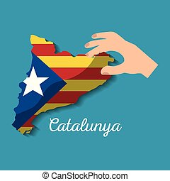 hand holding map of catalonia independent nationalist flag ...