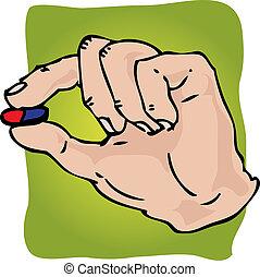 Hand holding medicine, illustration in hand-drawn format