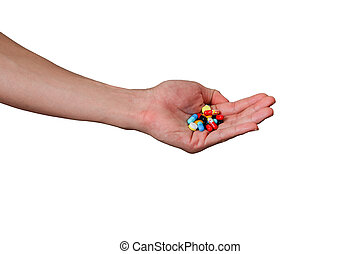 hand holding medicine pills isolated on white background