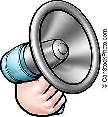 Hand Holding Megaphone Cartoon - A cartoon hand holding a...