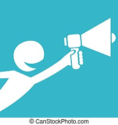 hand holding megaphone. cartoon Business concept.