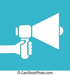 hand holding megaphone. cartoon Business concept.