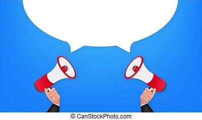 Hand holding megaphone - Congrats. stock illustration
