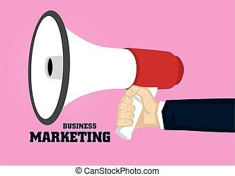 Hand Holding Megaphone for Business Marketing Concept Vector Illustration