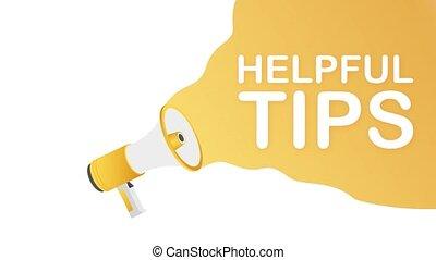 Hand holding megaphone - Helpful tips. Motion design