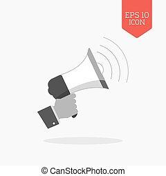 Hand holding megaphone icon, promotion concept. Flat design gray color symbol. Modern UI web navigation, sign.