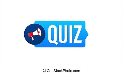 Hand holding megaphone - Quiz. stock illustration