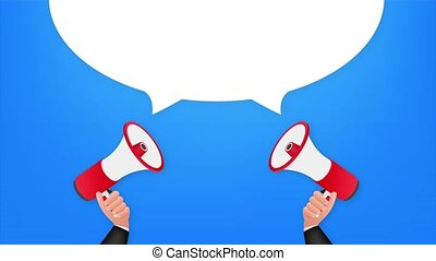 Hand holding megaphone, refer a friend. stock illustration