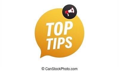 Hand holding megaphone - Top tips. illustration