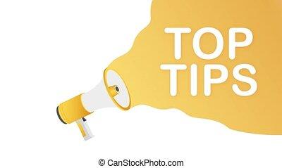 Hand holding megaphone - Top tips. Motion design