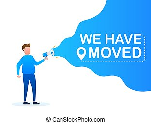 Hand holding megaphone - We have moved. Vector stock illustration
