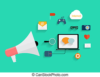 Hand holding Megaphone with Icon Set. Vector Illustration