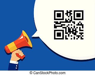 Hand Holding Megaphone with QR Code SALE in Bubble Speech