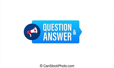 Hand Holding Megaphone with Question and Answer. Megaphone banner. Web design. stock illustration