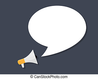 Hand holding Megaphone with Speech Bubble. Vector Illustration