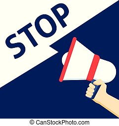 Hand Holding Megaphone With STOP Announcement