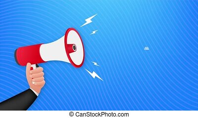 Hand Holding Megaphone with Success stories. stock illustration