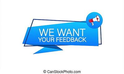Hand Holding Megaphone with We want your feedback. Megaphone banner. Web design. stock illustration