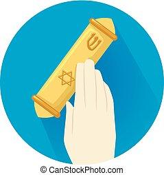 Hand Holding Mezuzah Illustration