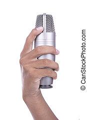 hand holding, mikrophon, weiß, hintergrund