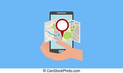 hand holding mobile app location taxi