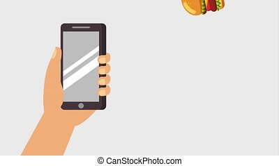 fast food online - hand holding mobile falling burgers fast...