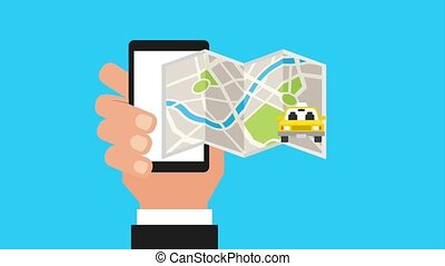 hand holding mobile gps navigation map taxi car