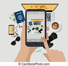 Hand holding mobile phone and make photo. Vector illustration. Computer, photo camera, coffee cup, sunglasses, passport, e book, map. Top view. Travel accessories.