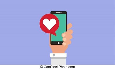 hand holding mobile phone and speech bubble loved it heart...