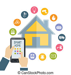 Hand holding mobile phone controls smart home - Hand holding...