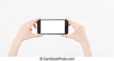 hand holding mobile phone gorizontal isolated on white background, empty blank screen