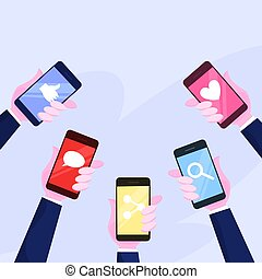 Hand holding mobile phone set. Smartphone with icon
