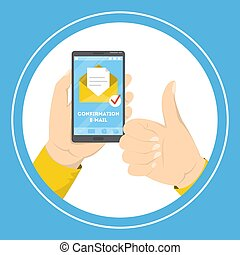 Hand holding mobile phone with a confirmation e-mail